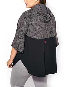 Athleisure - Plus-Size Printed Hooded Poncho