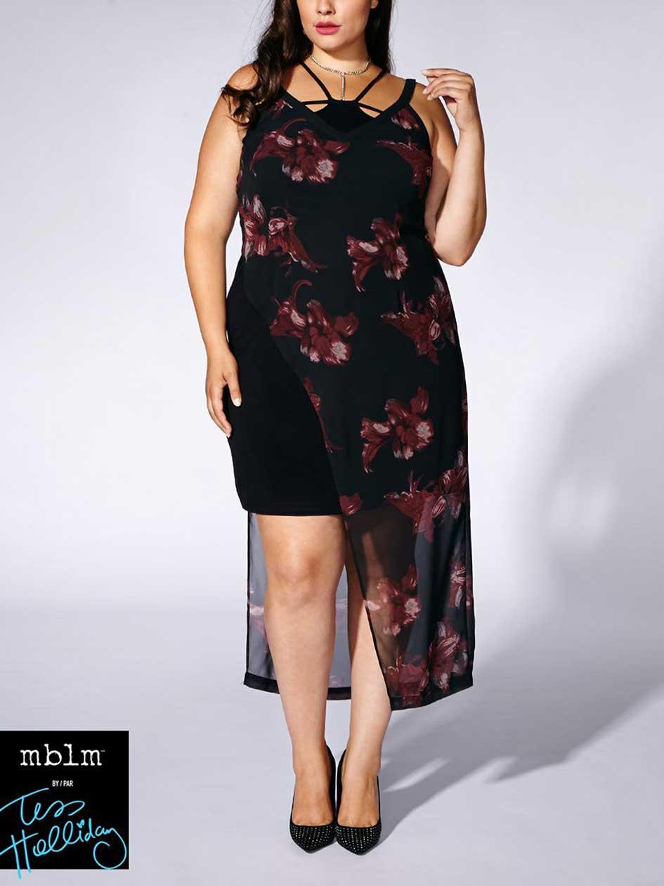 Tess Holliday - Sleeveless Printed Asymmetric Maxi Dress