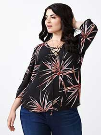 MELISSA McCARTHY Printed Lace-Up Blouse