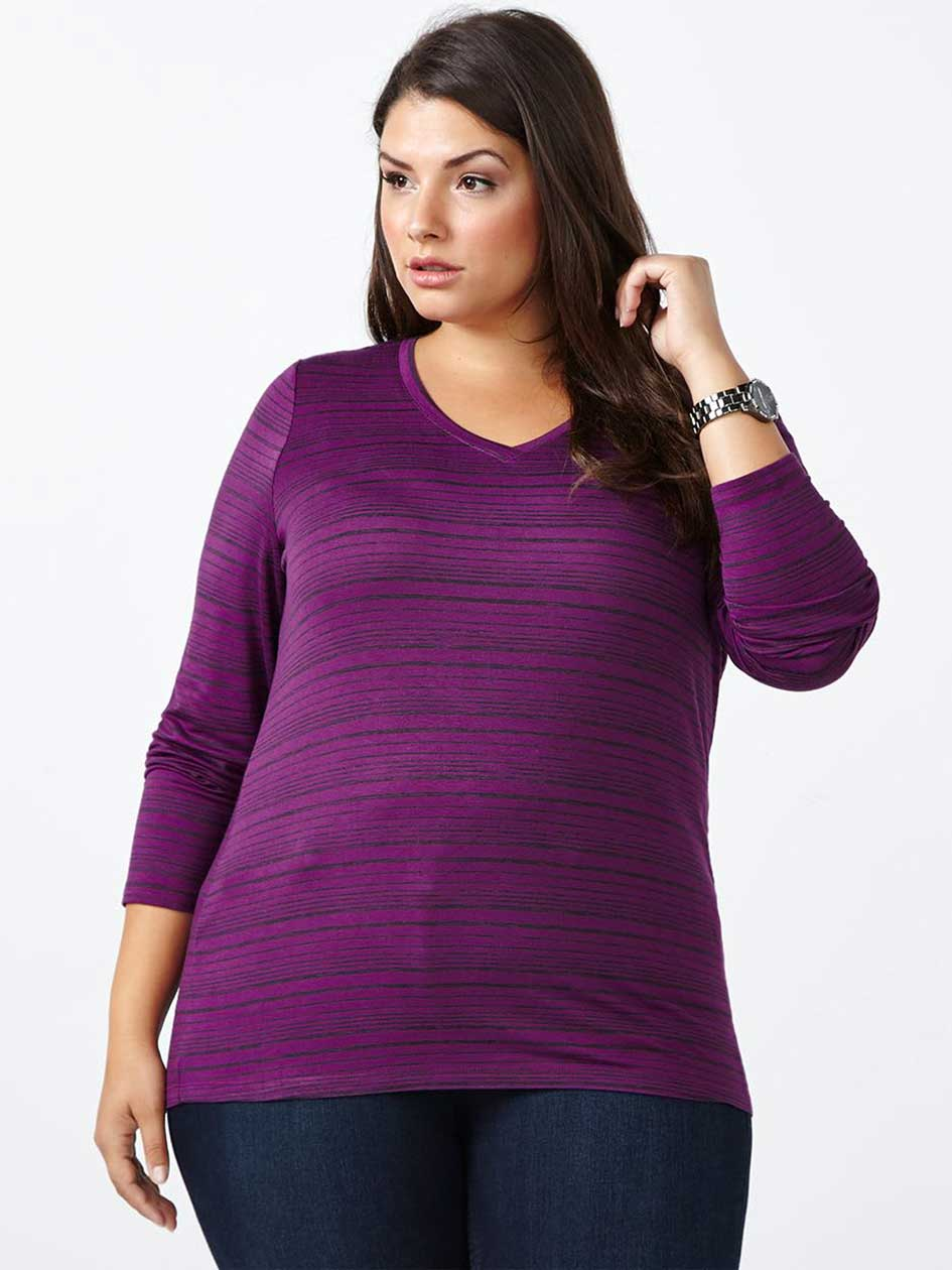 Curve Fit Long Sleeve Striped T-Shirt