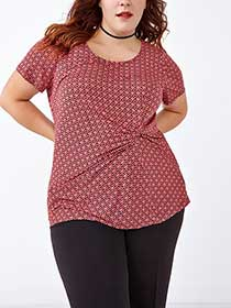 Short Sleeve Printed Top With Front Knot