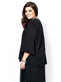 MELISSA McCARTHY 3/4 Sleeve Bejeweled Neck Top