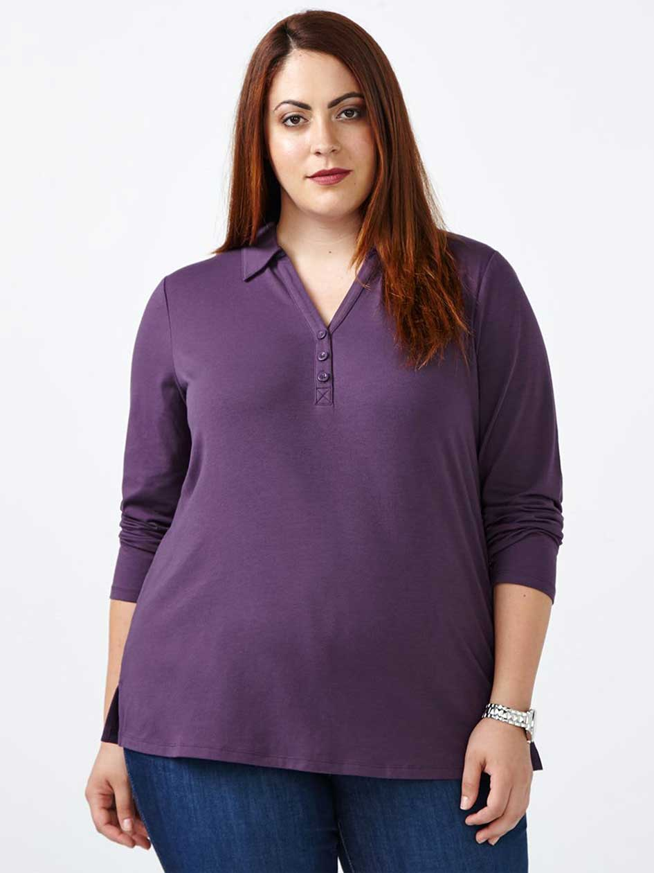 Curve Fit Long Sleeve Polo T-Shirt