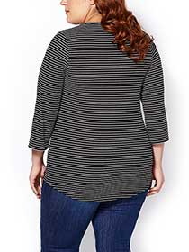 Shaped Fit 3/4 Sleeve Striped T-Shirt