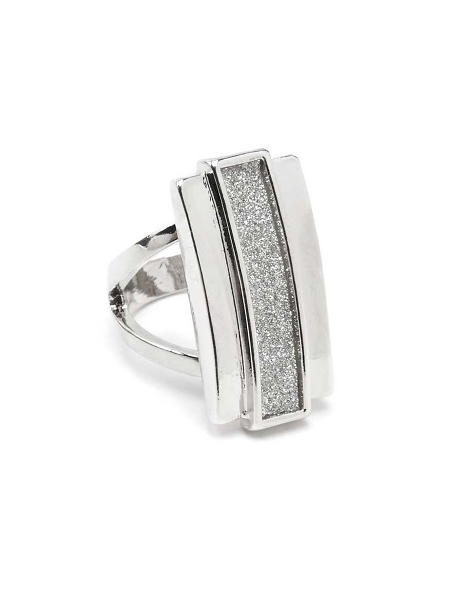 Rectangle Ring with Glitter