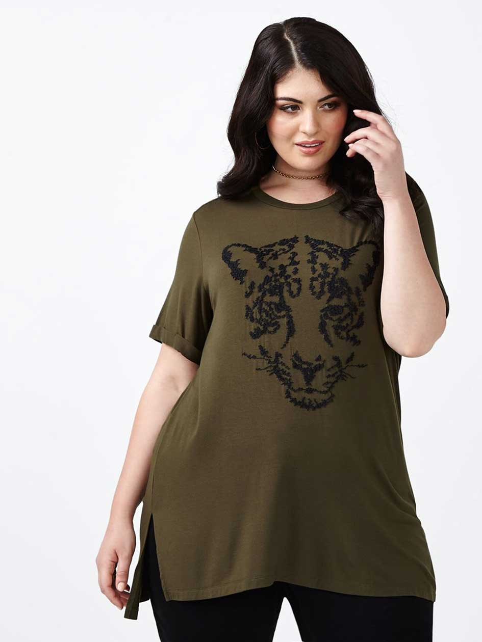 MELISSA McCARTHY Leopard Embroidery T-Shirt