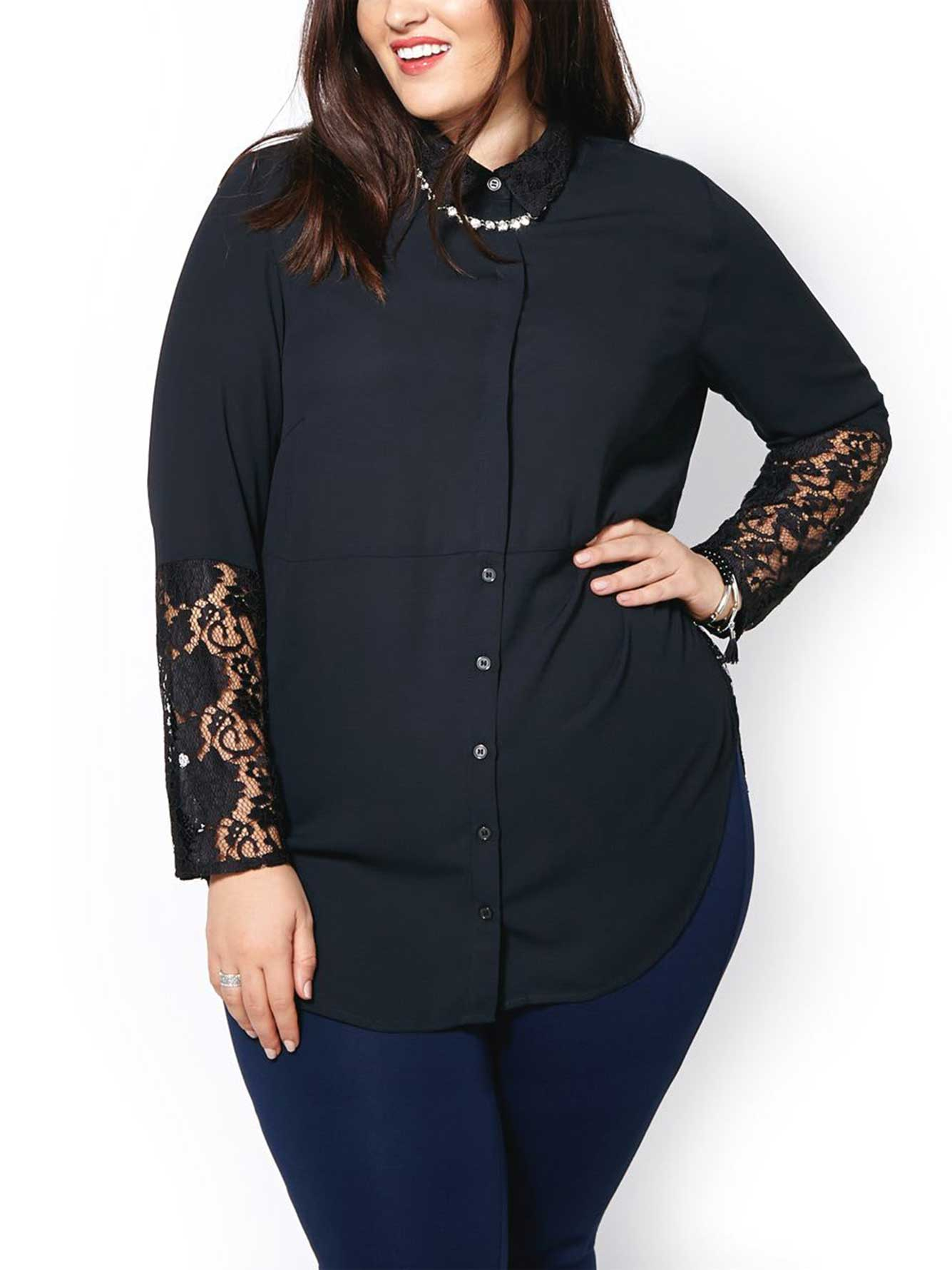 Long Sleeve Lace Blouse 98