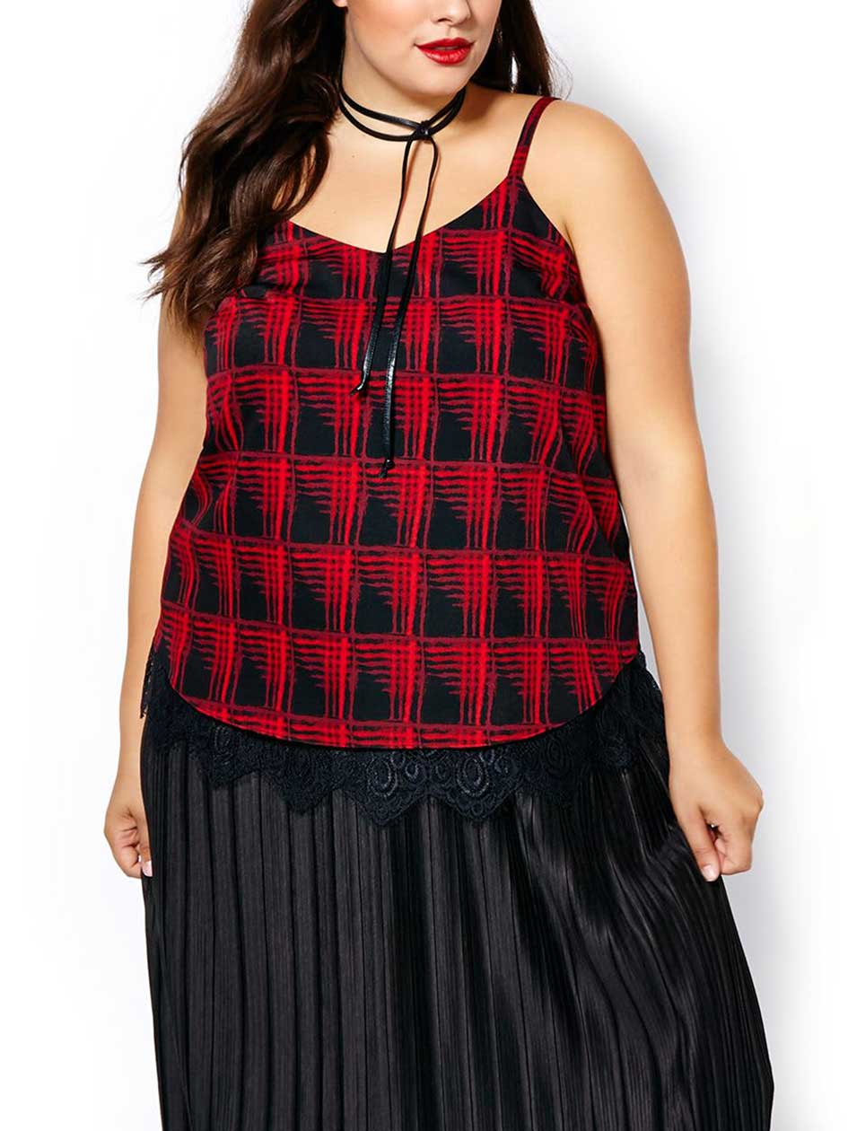 Sleeveless Printed Blouse with Lace