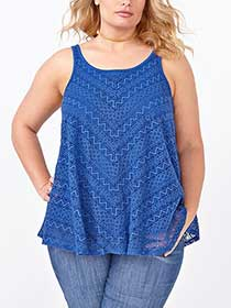 d/c JEANS Sleeveless Lace Top