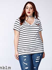 mblm Striped T-Shirt with Patches