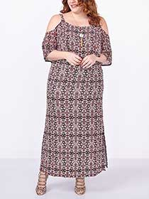 Elbow Sleeve Cold Shoulder Printed Maxi Dress