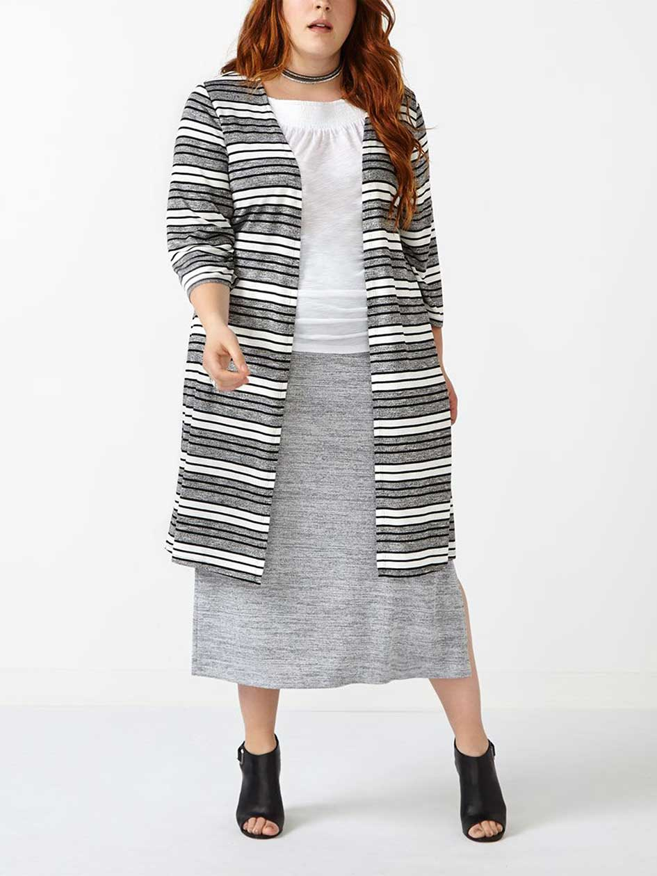 d/c JEANS Striped Long Cardigan