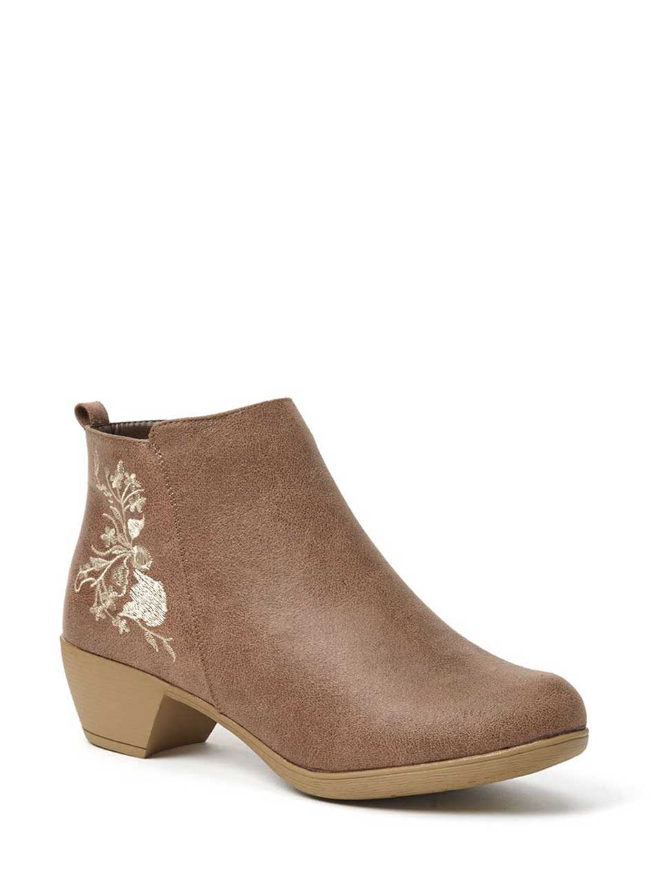 Wide-Width Embroidered Booties