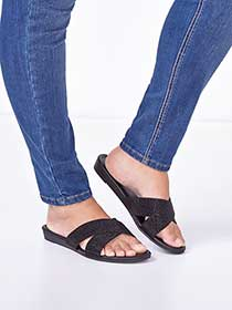 Faux-Suede Wide-Width Sandals