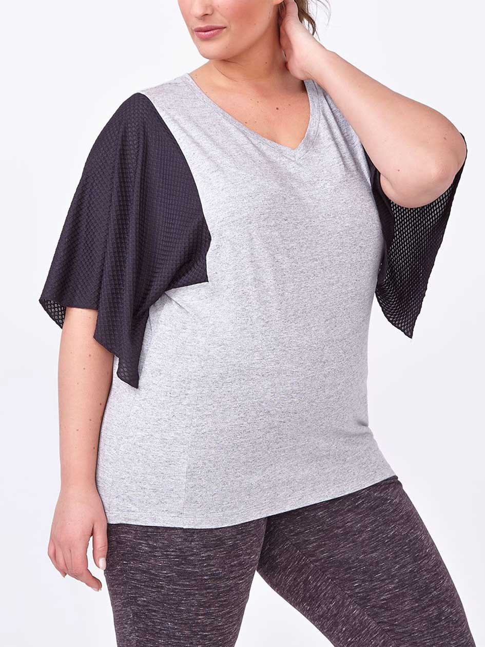 Athleisure - Mesh Sleeve Plus-Size T-Shirt
