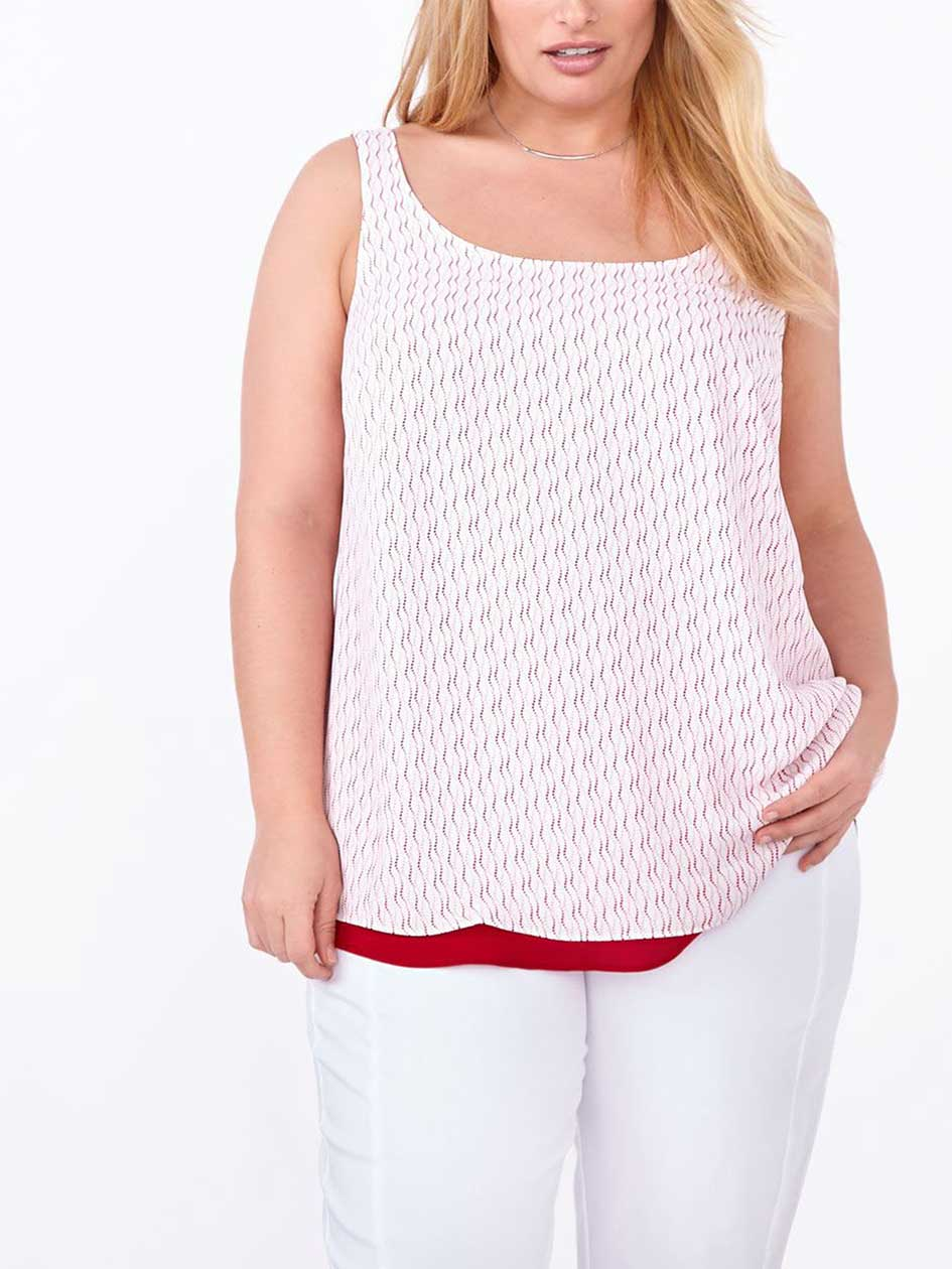 Printed Reversible Dual-Layer Shell Top
