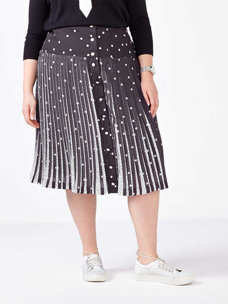 MELISSA McCARTHY Pleated Printed Skirt.Black Dots.26
