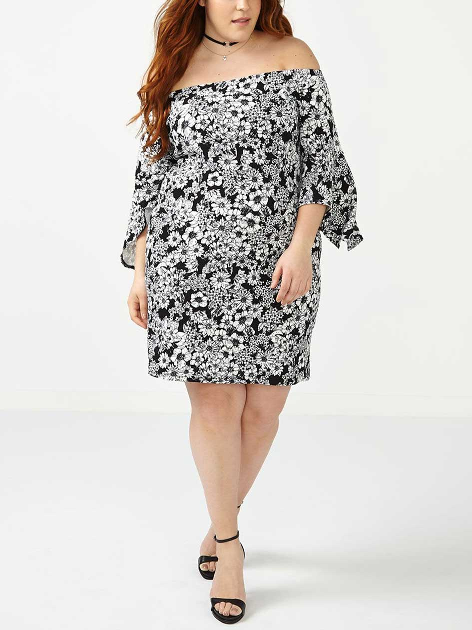 ONLINE ONLY Off Shoulder Printed Dress.Almost White.4X