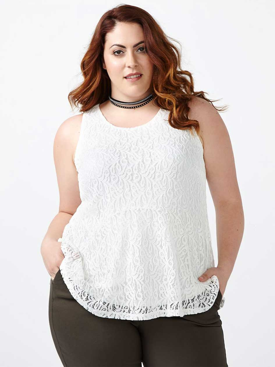 Sleeveless Peplum Lace Top