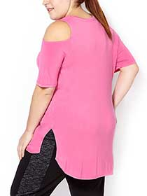 Athleisure - Plus-Size Cold Shoulder Top