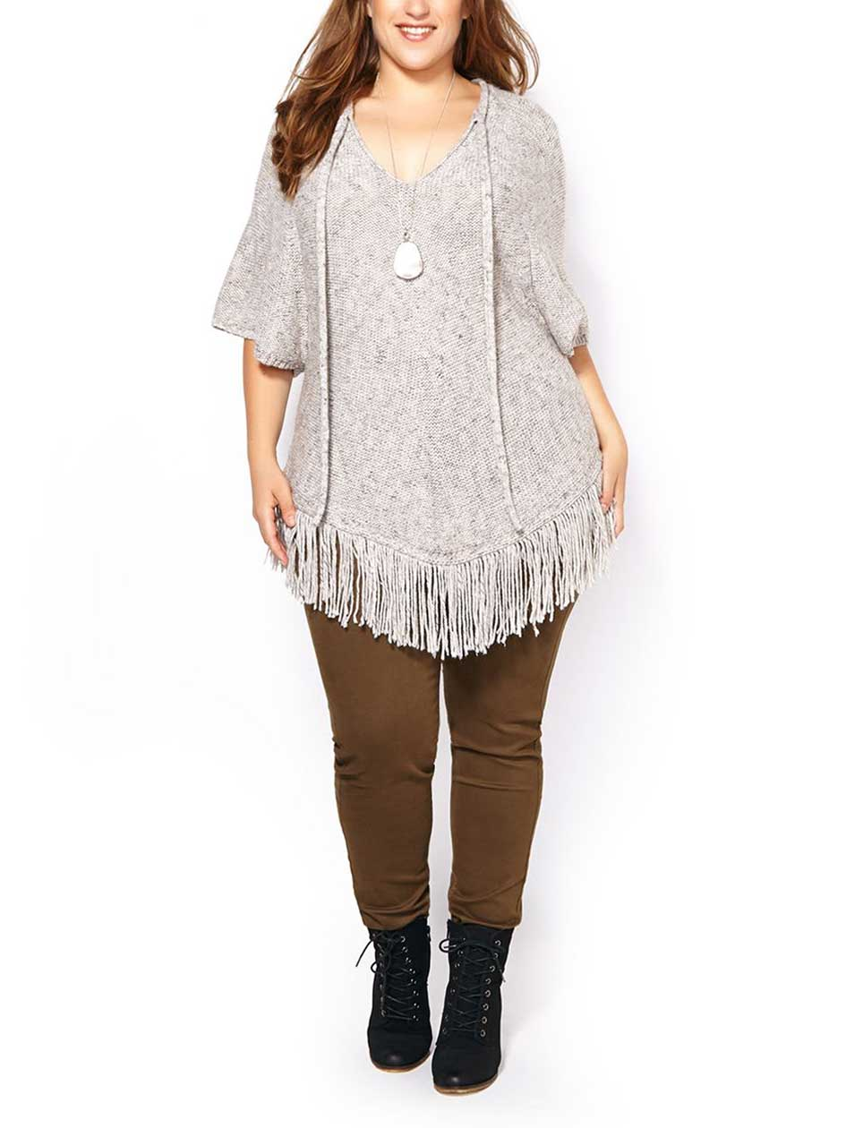 d/c JEANS Elbow Sleeve Fringe Sweater