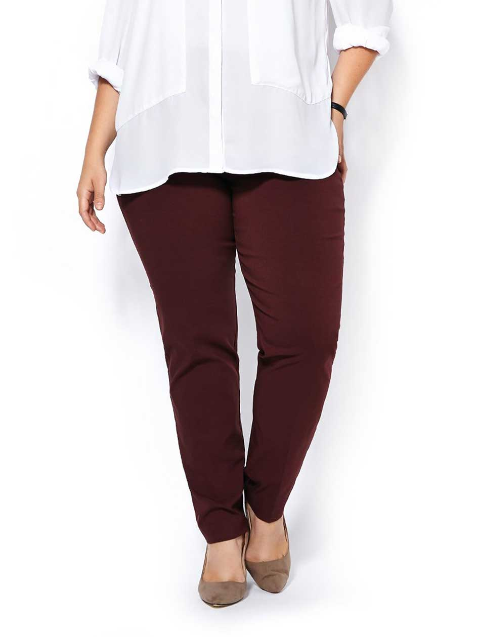 Slightly Curvy Fit Slim Leg Twill Pant
