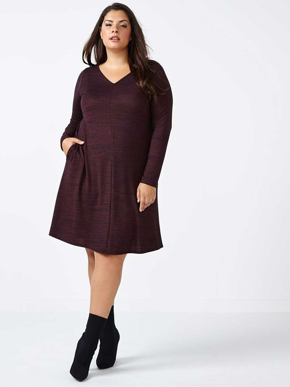 Long Sleeve V-Neck Swing Dress.Black/ Grey.1X