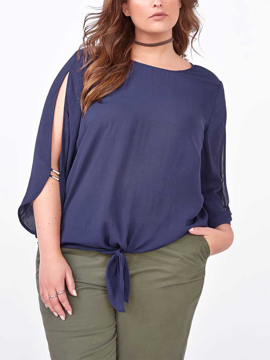 3/4 Sleeve Cold Shoulder Blouse with Knot