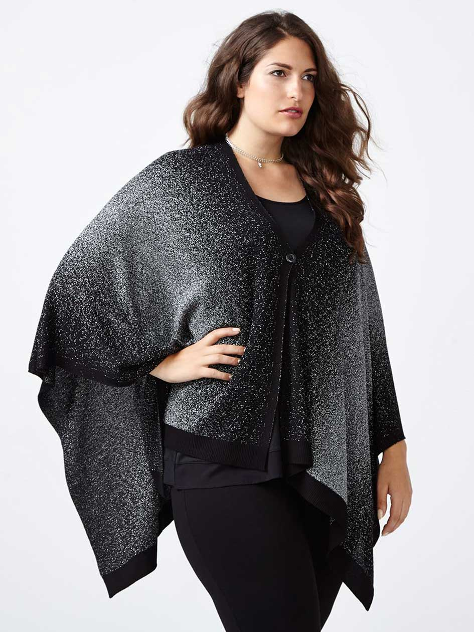 Two-Toned Shimmering Sweater Cape