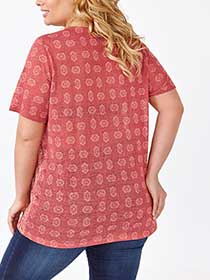 Relaxed Fit Split Neck Printed T-Shirt