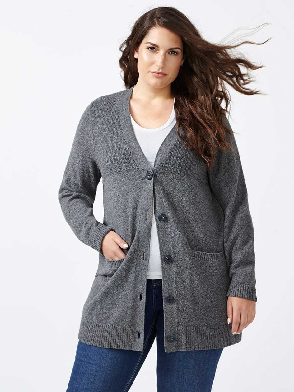 d/c JEANS Long Sleeve Textured Cardigan