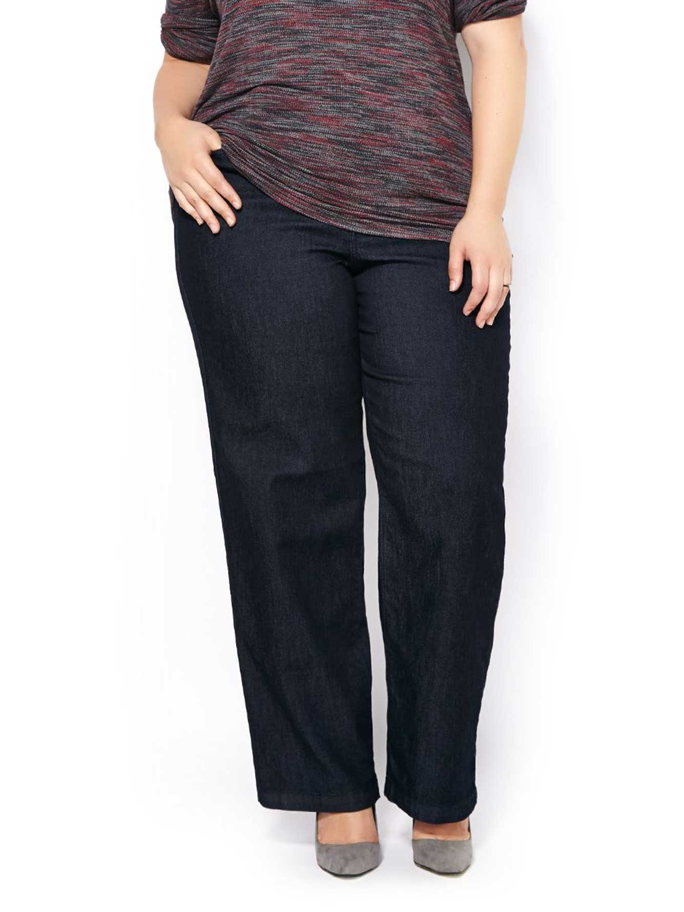 Petite Curvy Double Frayed Soft Slim Pocket Skinny Jeans in Black.