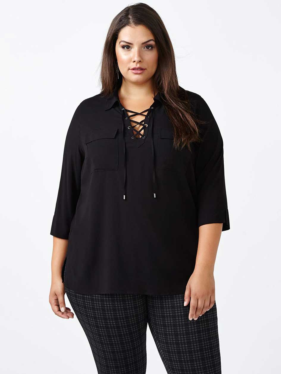 3/4 Sleeve Lace Up Blouse