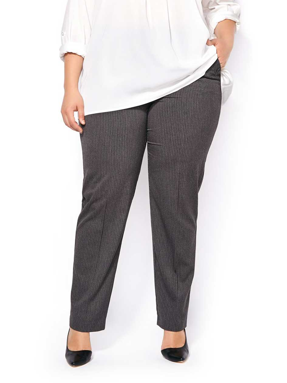 Slightly Curvy Fit Striped Straight Leg Pant