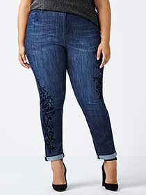 d/c JEANS - Slightly Curvy Fit Straight Leg Jean with Embellishment