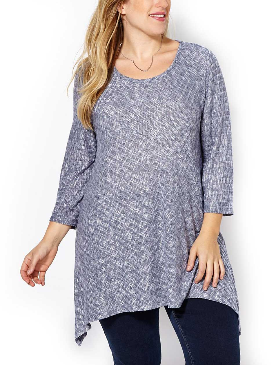 d/c JEANS 3/4 Sleeve Sharkbite Knit Tunic
