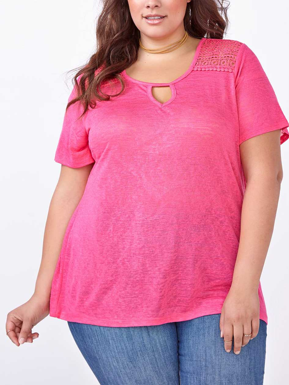 Shaped Fit T-Shirt with Crochet Detail