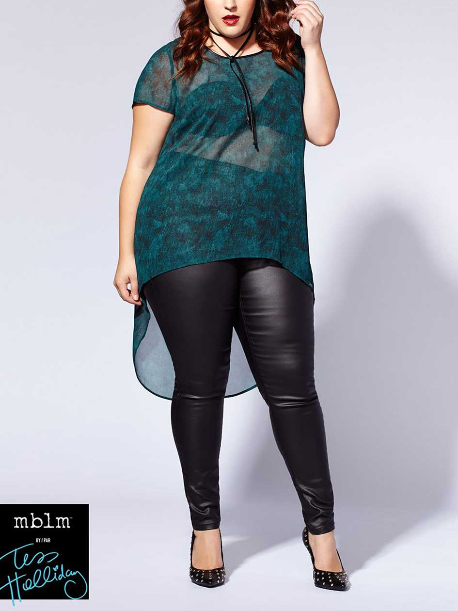 Tess Holliday - Short Sleeve Printed High Low Top