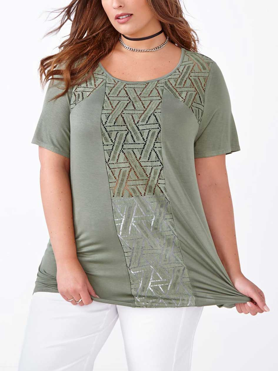 Short Sleeve Top with Mesh