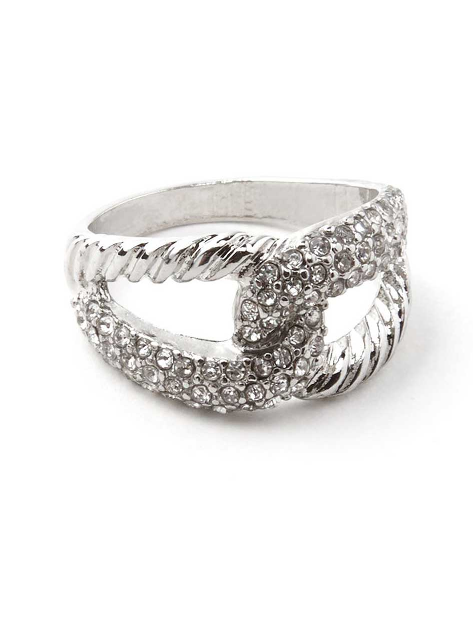 Twisted Ring with Rhinestones