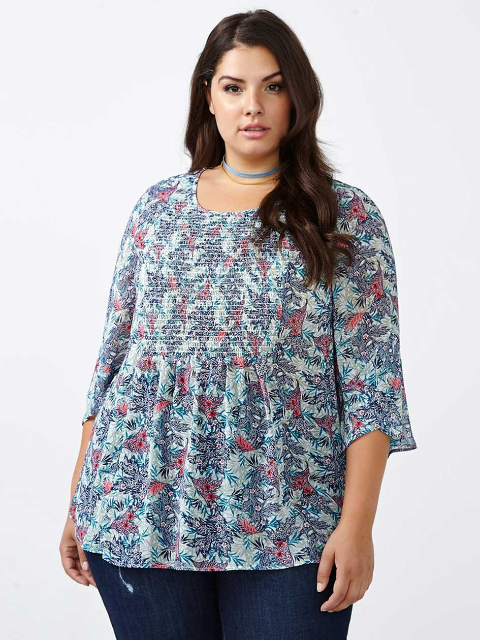 d/c JEANS 3/4 Sleeve Printed Blouse