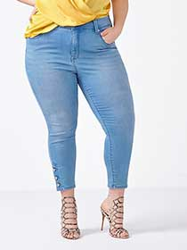 MELISSA McCARTHY Cropped Pencil Jean with Buttons