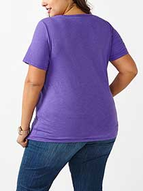 Shaped Fit Lace Front V-Neck T-Shirt