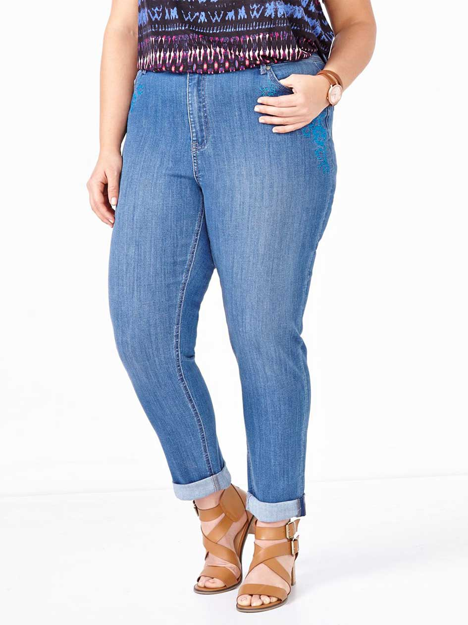 d/c JEANS Slightly Curvy Fit Straight Leg Girlfriend Jean