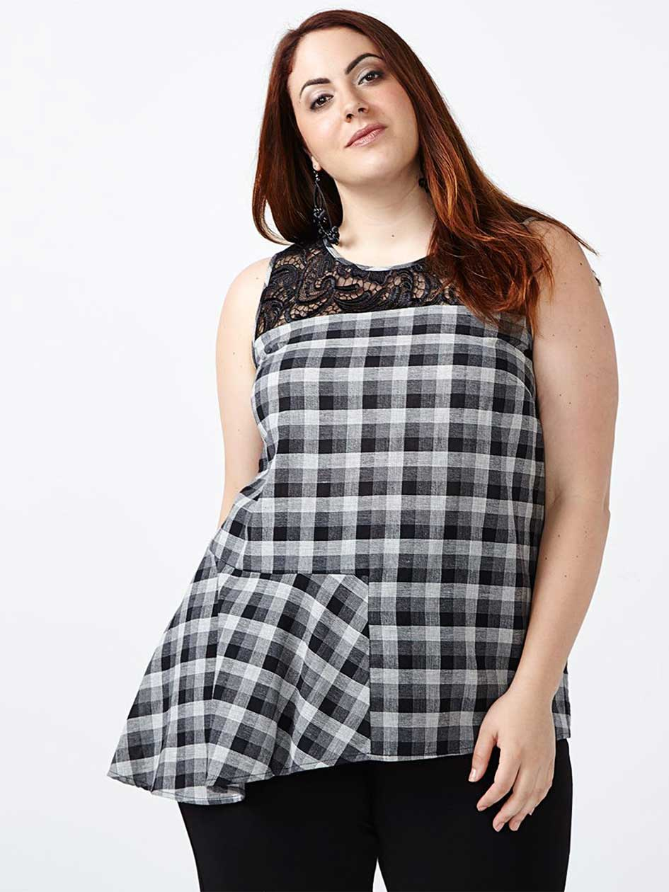 Sleeveless Plaid Blouse with Lace
