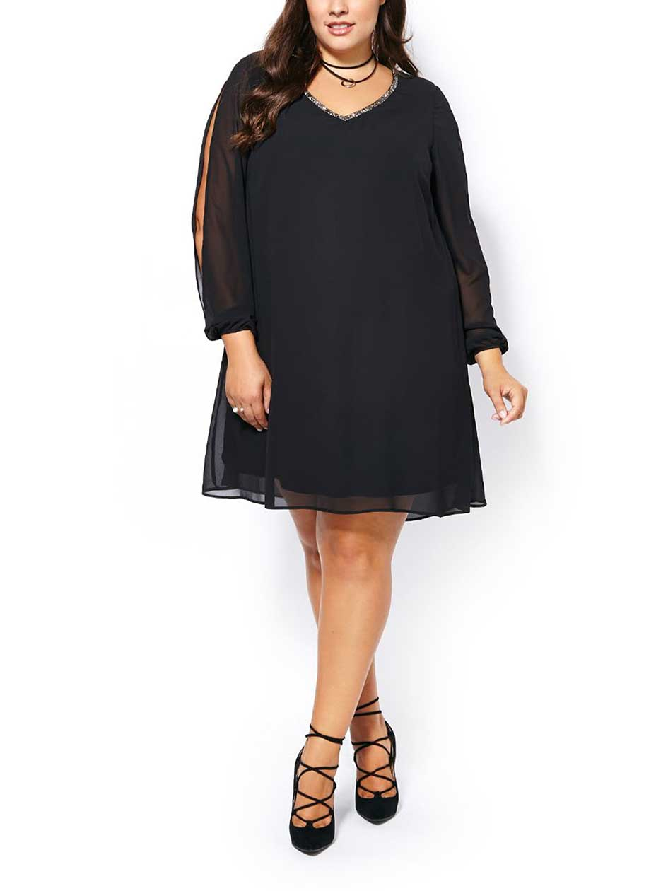 Long Sleeve Black Chiffon Dress