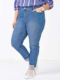 ONLINE ONLY - d/c JEANS Tall Slightly Curvy Fit Straight Leg Girlfriend Jean
