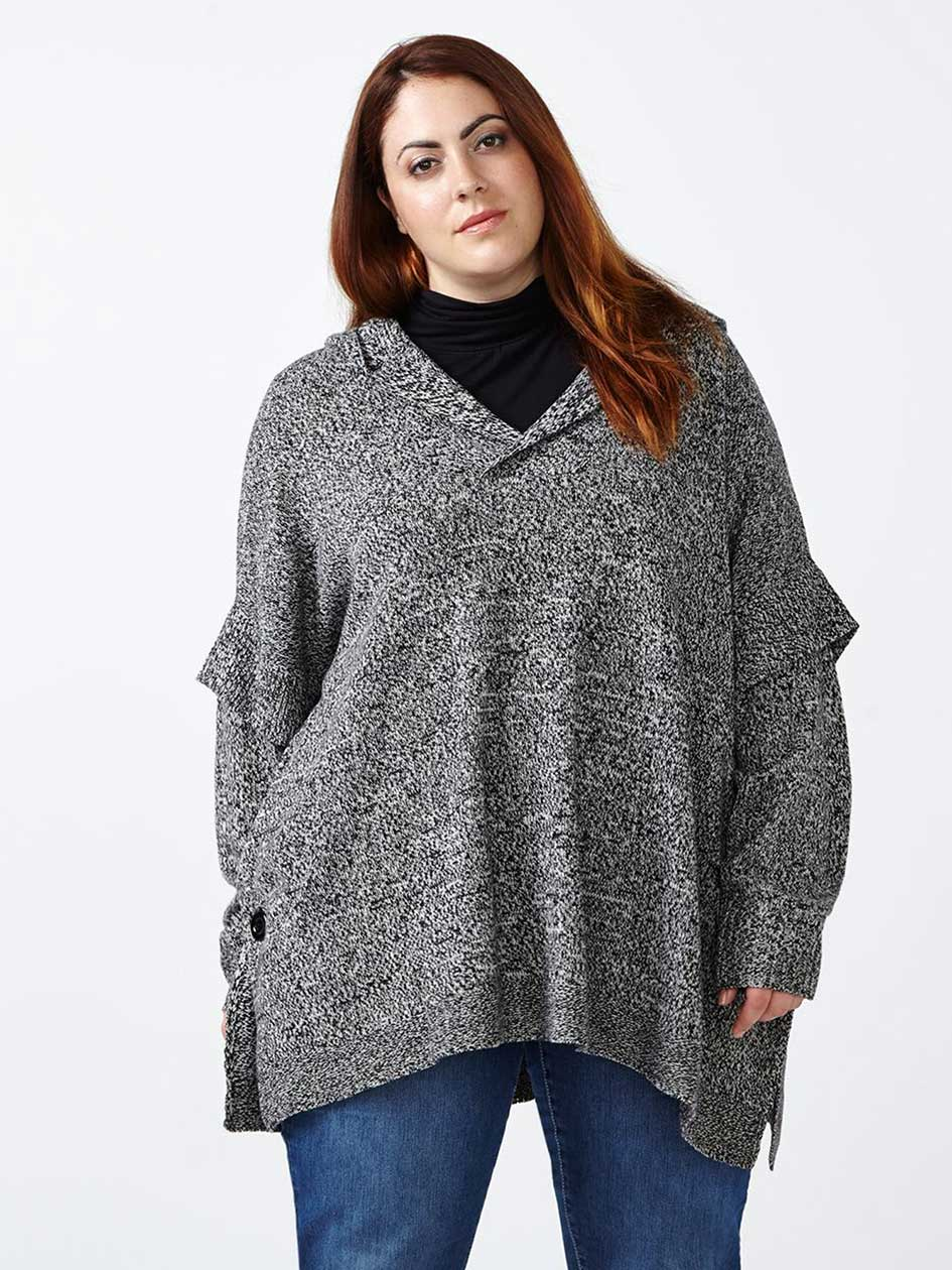 d/c JEANS Hooded Poncho Sweater