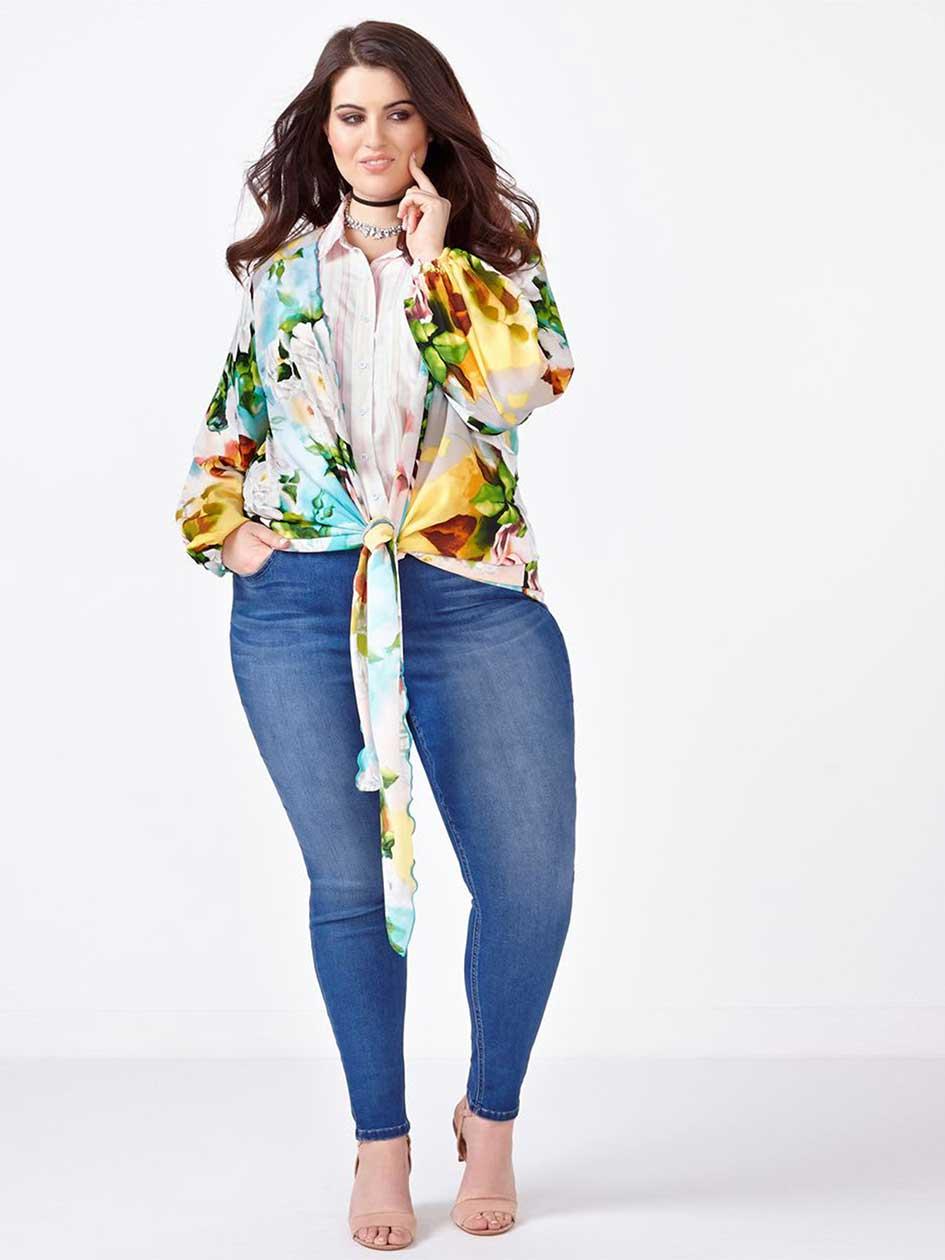 MELISSA McCARTHY - Long Sleeve Printed Kimono.La Vie en Rose.2X