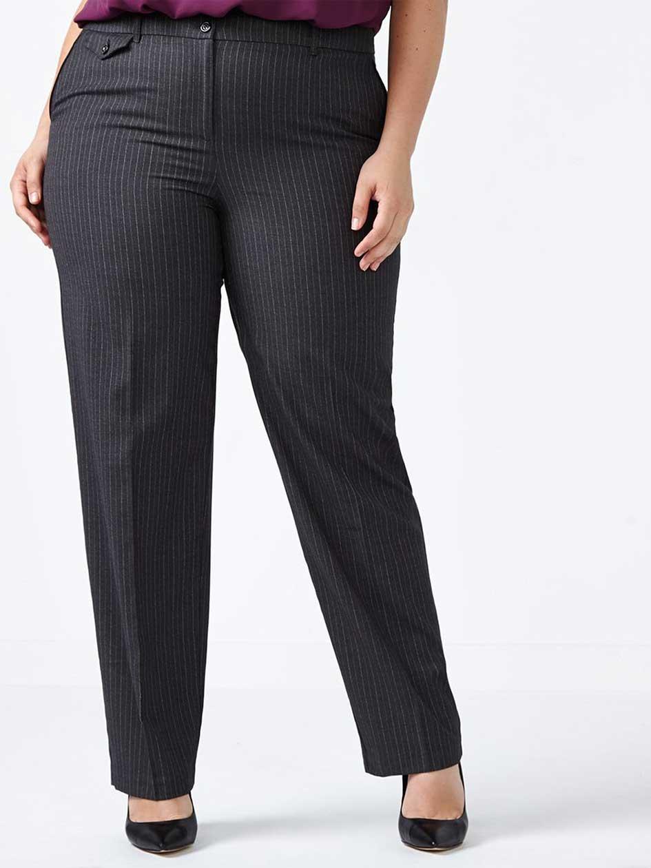 Petite - Straight Fit Straight Leg Striped Pant